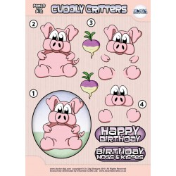 Cuddly Critters Decoupage - Pablo the Pig - (Non-Die-Cut)