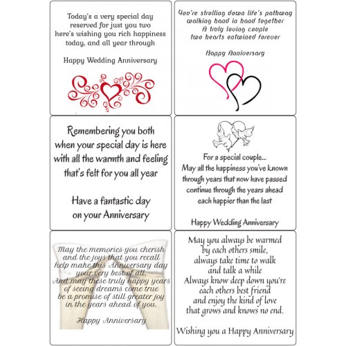 Easy Peel Self Adhesive Anniversary Verses by Essential Crafts