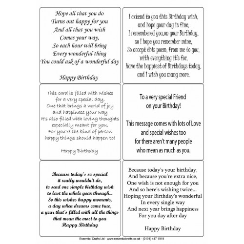 Easy Peel Self Adhesive Birthday Verses 1 No Images by Essential Crafts