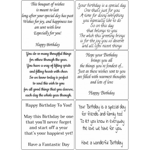 Easy Peel Self Adhesive Birthday Verses 3 by Essential Crafts
