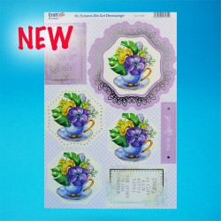 Die Cut Decoupage Foiled - Flowers in Teacup
