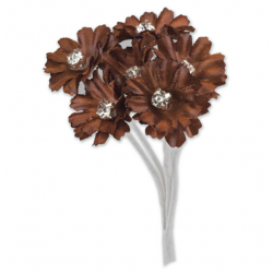 Silk Chocolate Brown Daisy with Diamante - 6 Stems Embellishment