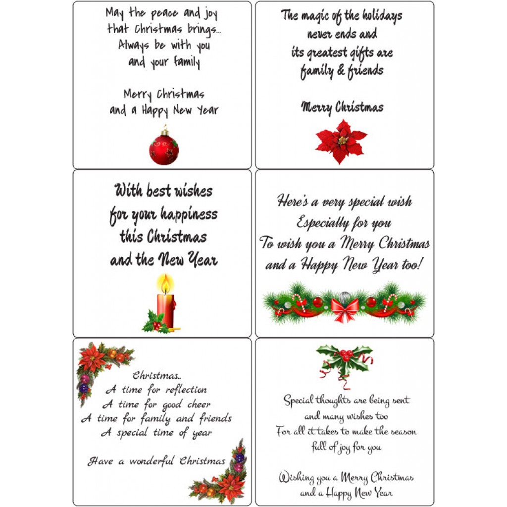 Peel Off Christmas Verses 2 Sticky Verses For Handmade Cards And