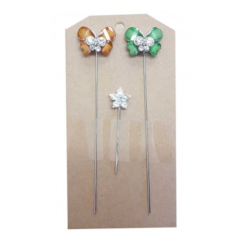 Butterflies with Diamante Centre & Star on Stem Embellishment Pack