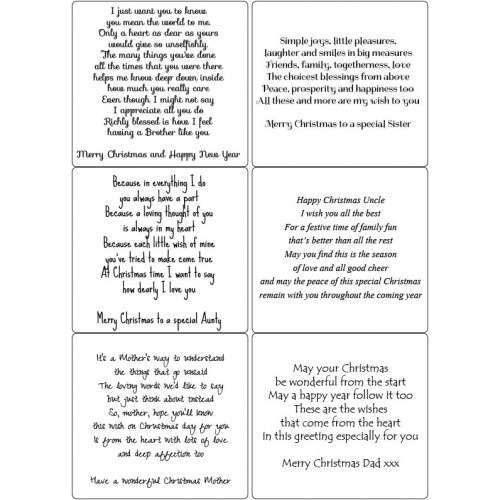 Easy Peel Self Adhesive Family Christmas Verses 2 by Essential Crafts