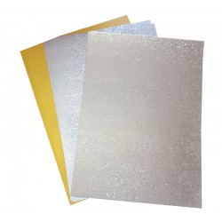 A4 Gold Pearl, Silver Metalic & Silver Reflective Card Pack - 15 Sheets
