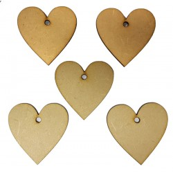 Hanging Wooden Hearts - Pack of 5