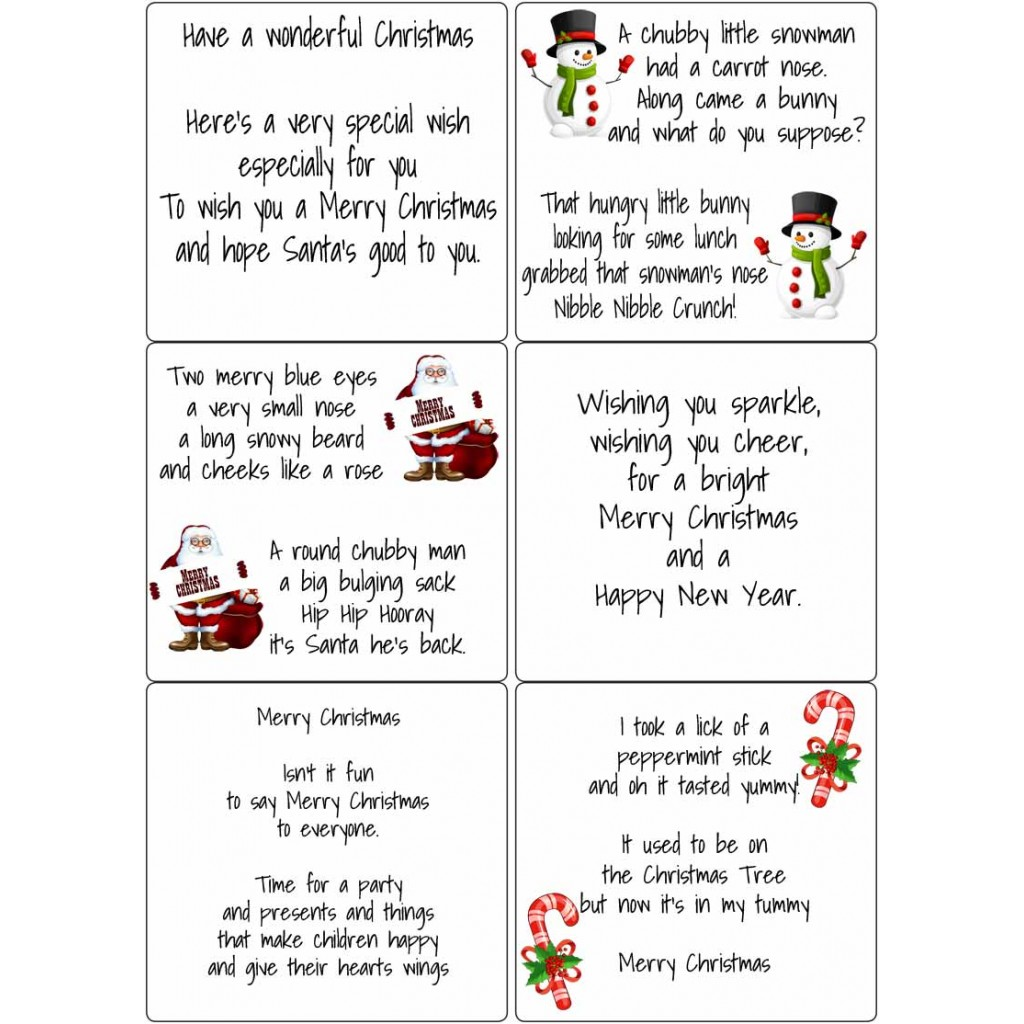 Peel Off Kids Christmas Verses | Sticky Verses for Handmade Cards ...