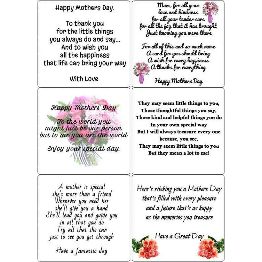 Peel Off Mothers Day Verses Sticky Verses For Handmade Cards And