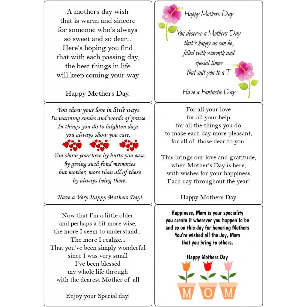 Peel Off Mothers Day Verses 2 | Sticky Verses for Handamde Cards ...