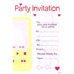 Party Invitations x 20 with Envelopes (yellow ipod)