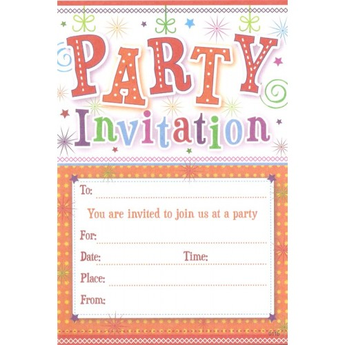 Party Invitation x 20 with Envelopes