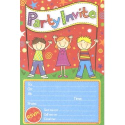 Party Invite x 20 with Envelopes (children)