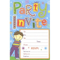 Party Invite x 20 with Envelopes (boy)
