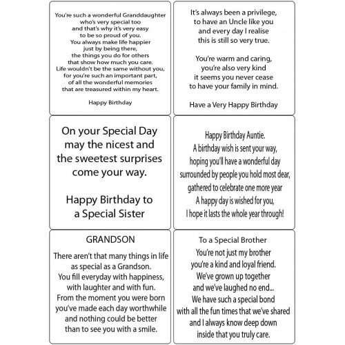 Easy Peel Self Adhesive Relatives Birthday Verses 1 by Essential Crafts