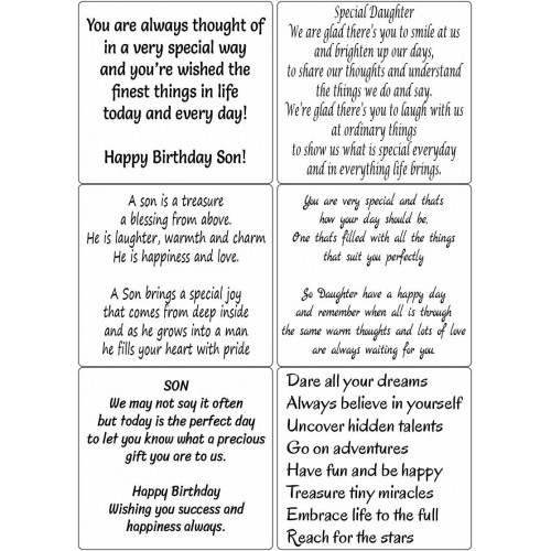 Easy Peel Self Adhesive Relatives Birthday Verses 3 by Essential Crafts