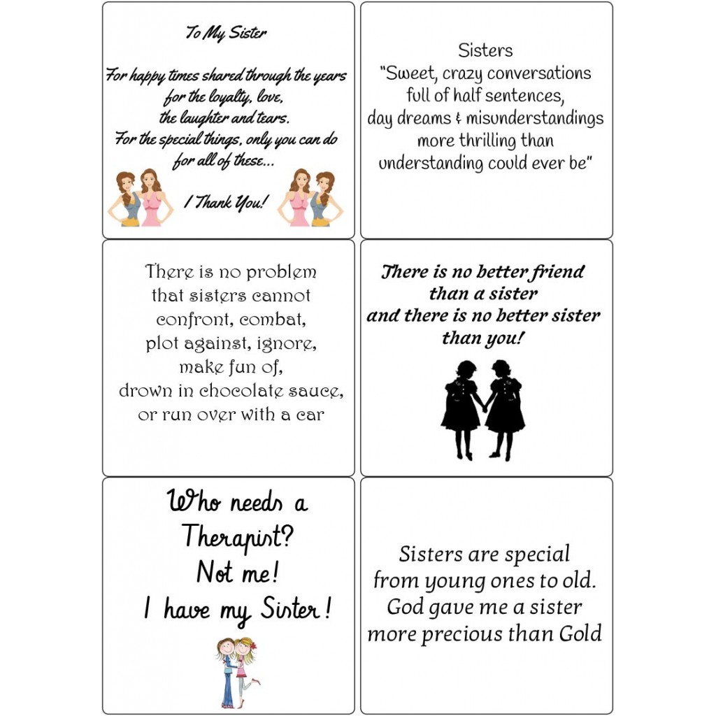 Peel Off Sister Quotes Sticky Verses For Handmade Cards