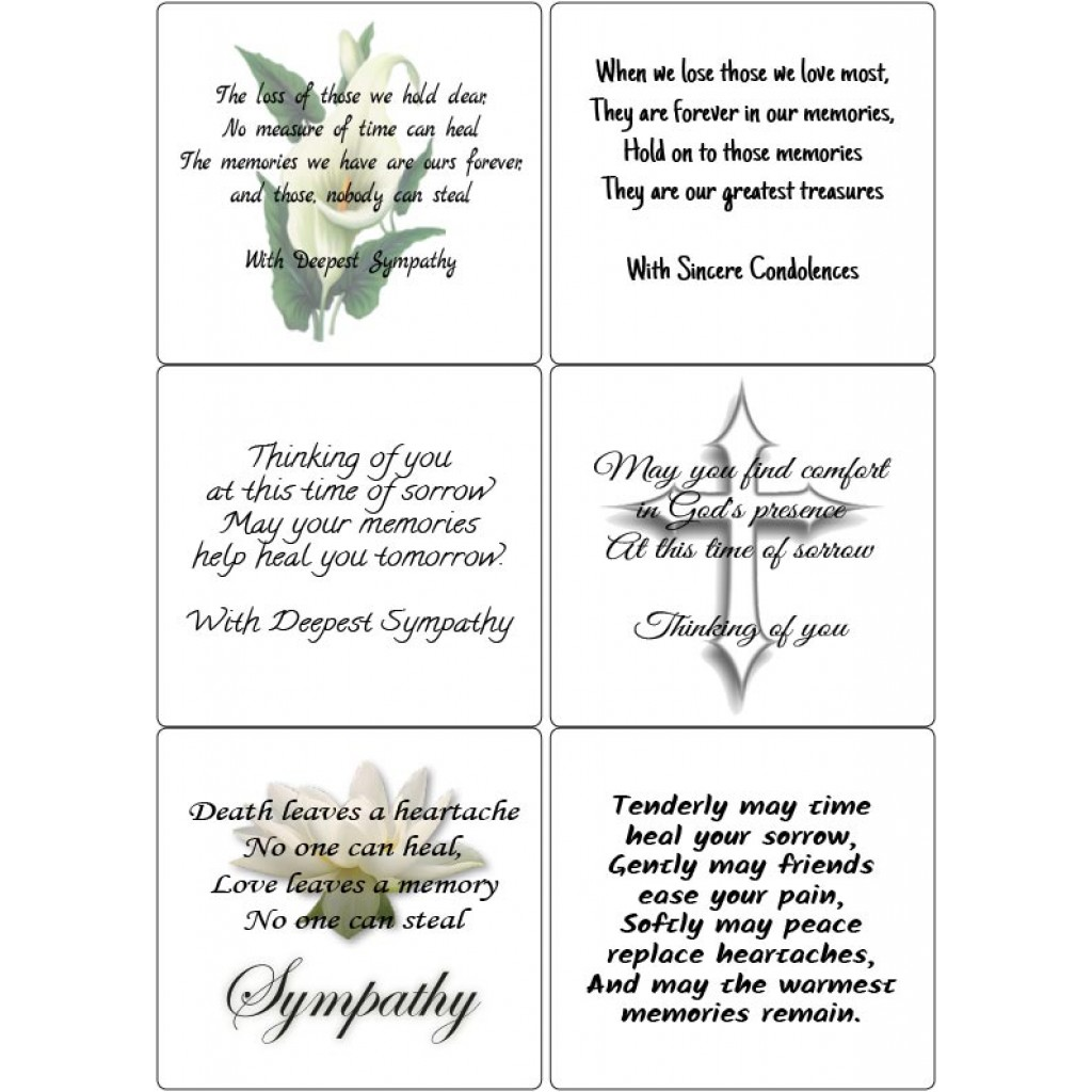Peel Off Sympathy Verses 3 | Sticky Verses for Handmade Cards and ...