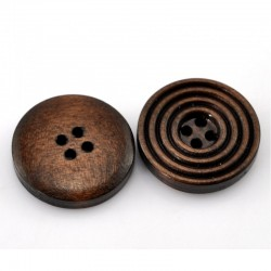 Brown Circles Wooden Buttons - 20mm - Pack of 10