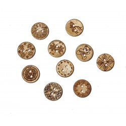 Coconut Shell With Images Buttons - 15mm - Pack of 10