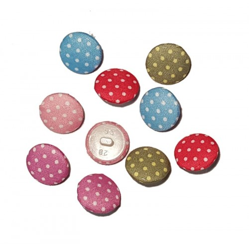 Dotty Fabric Round Buttons - 15mm - Pack of 10