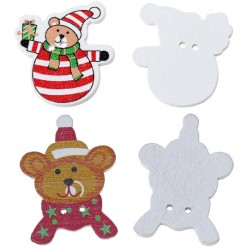 Christmas Striped Bear & Teddy Bear Buttons - Pack of 10