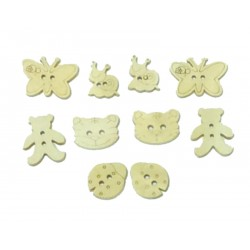 Natural Animals Novelty Buttons - Pack of 10