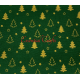 Fat Quarter Christmas Trees on Green Background 100% Cotton Fabric