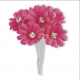 Silk Fucshia Daisy with Diamante - 6 Stems Embellishment