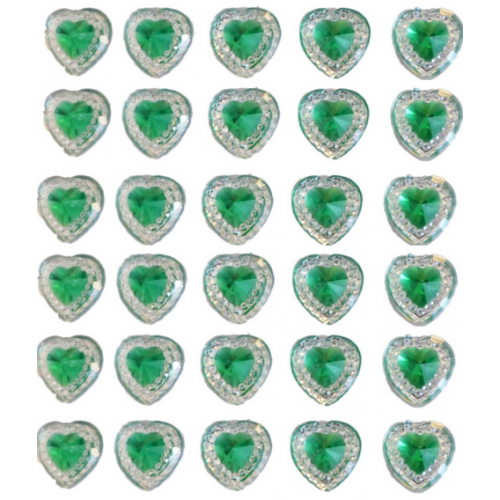 40 Green Self Adhesive Acrylic Hearts / Embossed Mini Crystals 12x17 mm