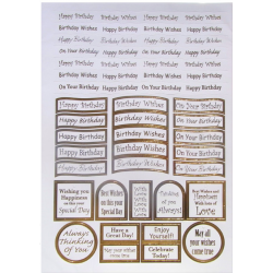 Die Cut Birthday Sentiment Toppers in Gold Foil
