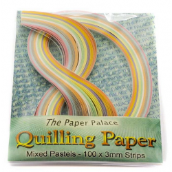 Quilling Papers 100 x 3 mm Strips Mixed Pastels