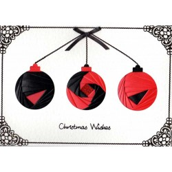 Iris Folding C5 Aperture Card - Christmas Bauble Trio