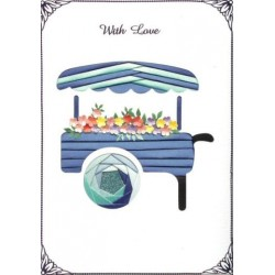 Iris Folding C5 Aperture Card - Flower Cart