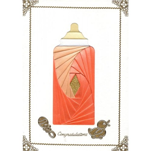 Iris Folding C5 Aperture Card - Baby Bottle