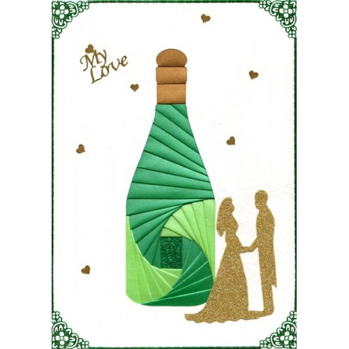 Iris Folding C5 Aperture Card - Champagne Bottle