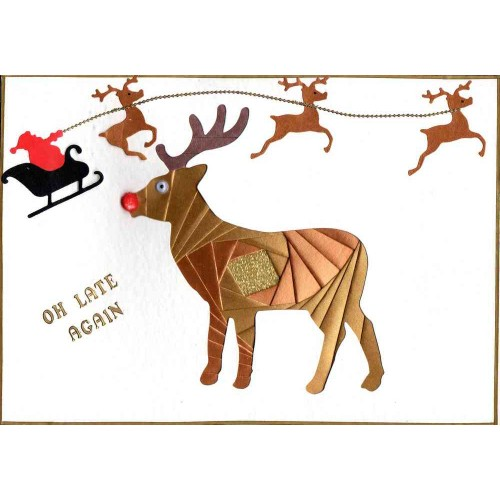 Iris Folding C5 Aperture Card - Deer / Stag
