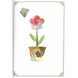 Iris Folding C5 Aperture Card - Flower in Pot