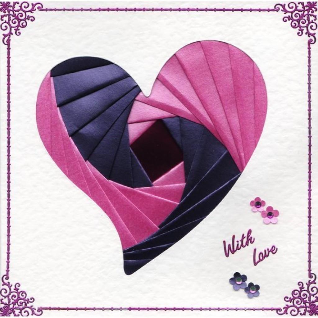 iris folding 6 x 6 aperture card heart funky