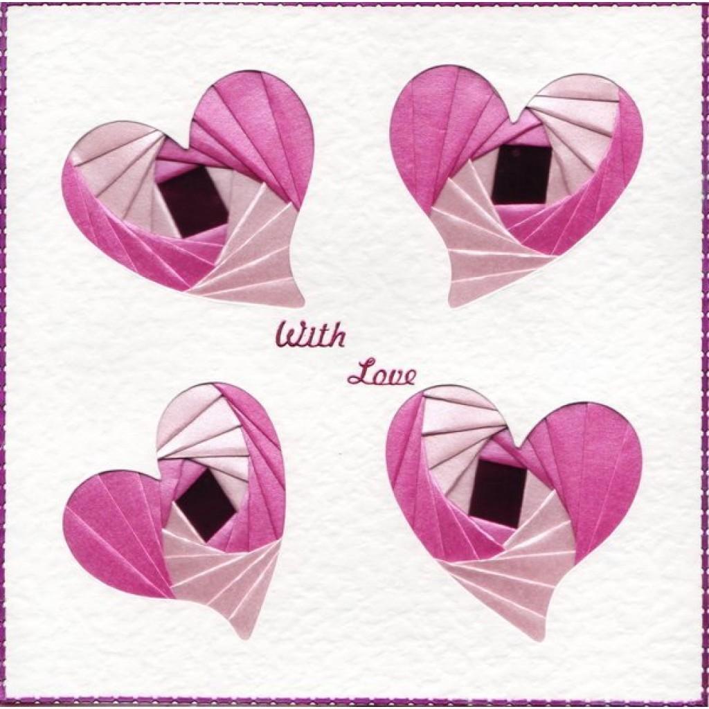 iris folding 6 x 6 aperture card 4 hearts