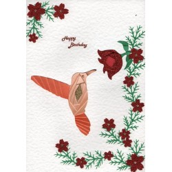 Iris Folding C5 Aperture Card - Humming Bird