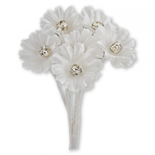 Silk Ivory Daisy with Diamante - 6 Stems Embellishment