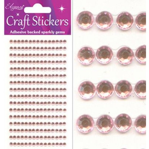 Eleganza 4mm Pearl Pink Sparkly Gems - Craft Stickers 240 pcs