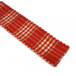 Red Rustic Plaid Ribbon 25mm x 1m - Berisfords