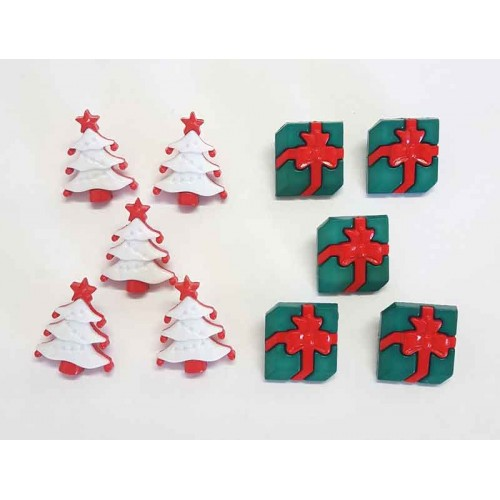 Christmas Tree & Gift  Buttons - Pack of 10