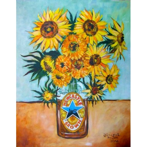 Brown Ale Sunflowers Print in the style of Vangogh - by Jim Harker
