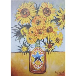 Brown Ale Sunflowers Fridge Magnet in the style of Vangogh - by Jim Harker