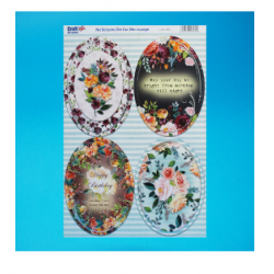 Die Cut Decoupage -  Foiled Silver Floral Toppers Oval