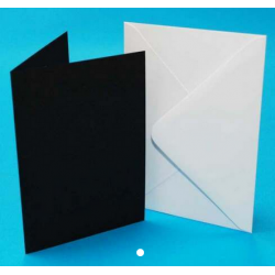 5 x 7 Black Cards and White Envelopes Pack of 5