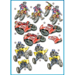 Die Cut Decoupage - Racing Bikes